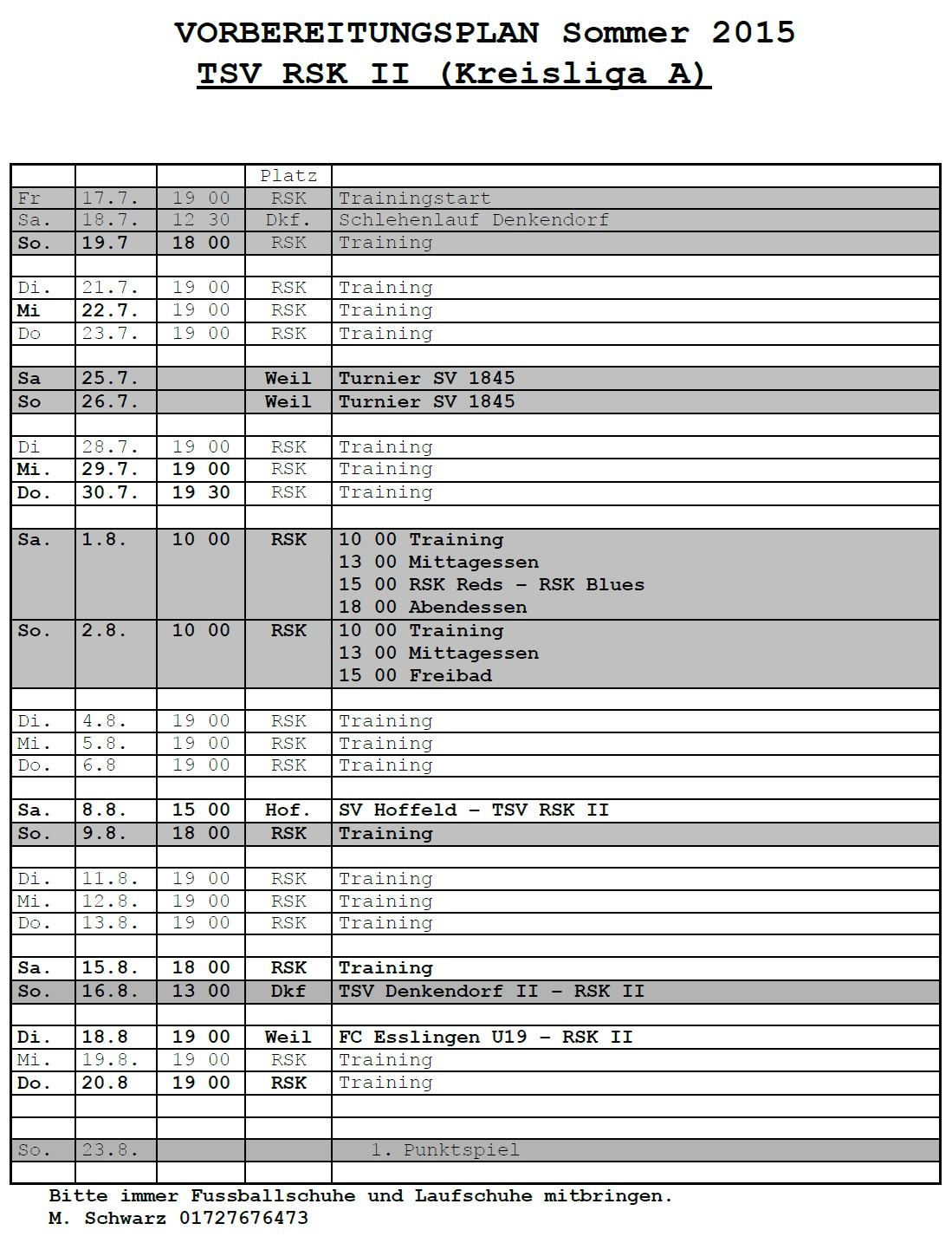 Fussball Trainingsplan Vorlage Trainingsplan