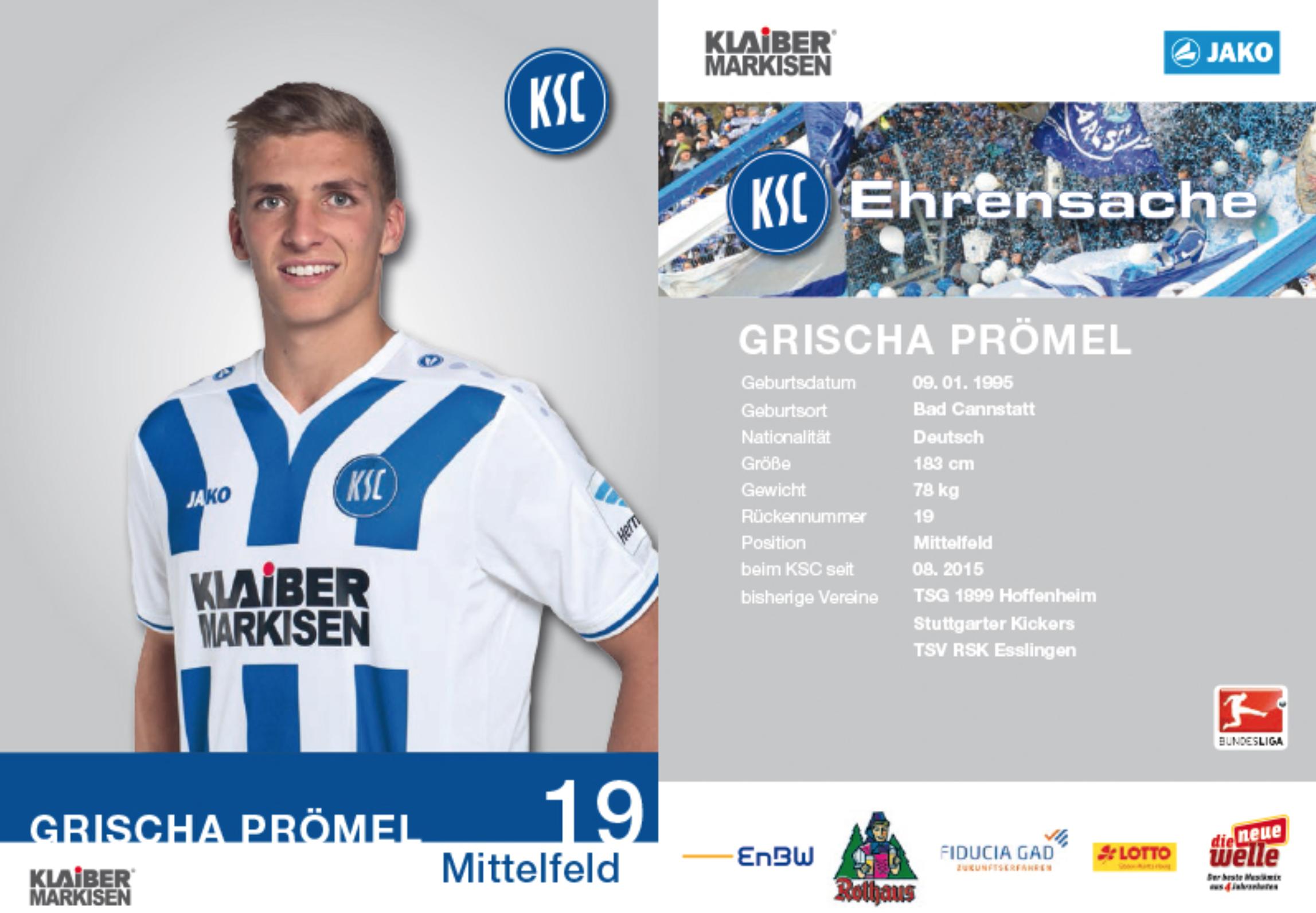 2015-16 Autogrammkarte Grischa Prömel