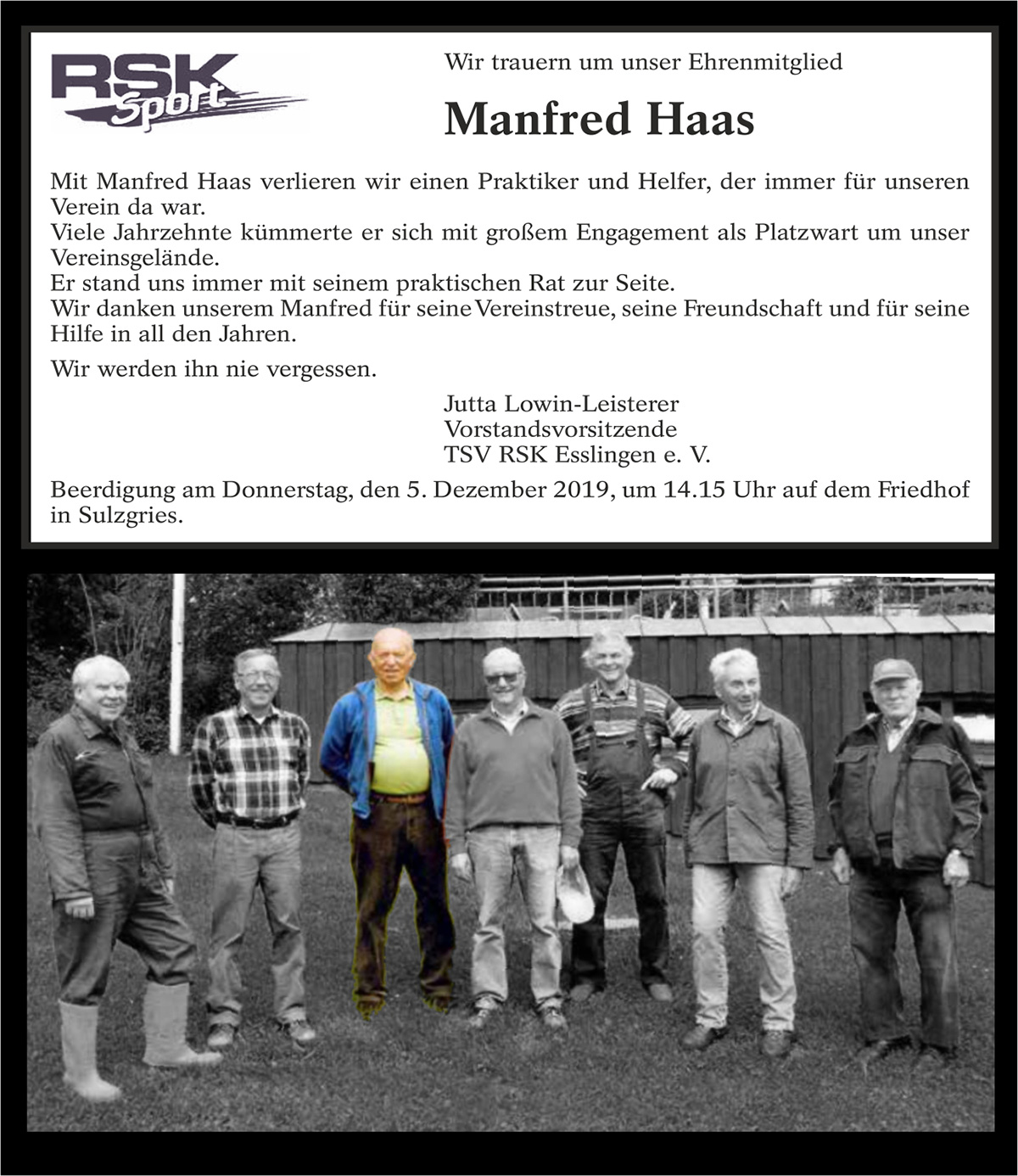 Nachruf Manfred Haas